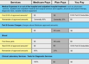 benefit chart for part b of medicare